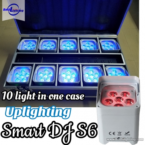 Uplighting sem fio do diodo emissor de luz do dmx de SMART DJ 6x18w RGBWA UV 6in1